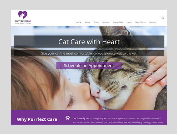Purrfect Care Feline Medical Center Website