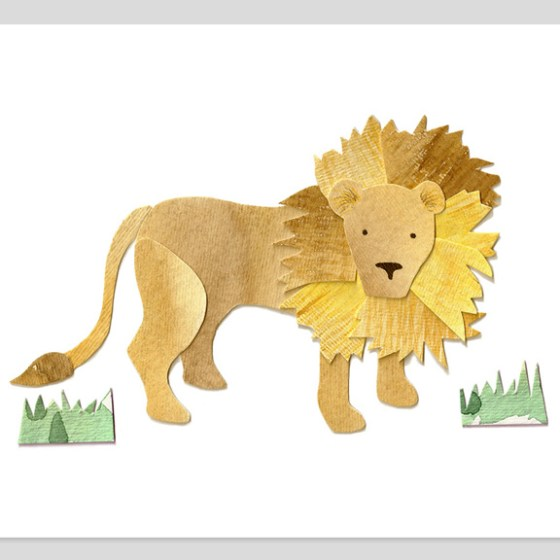 African Lion Assembled Watercolor Print by Cortney North