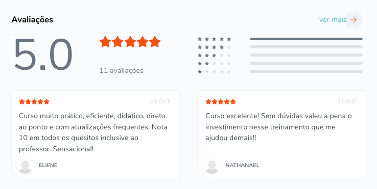 Curso Rumo a Escala é bom, vale a pena e funciona de acordo com a nota de avaliação na plataforma Hotmart.