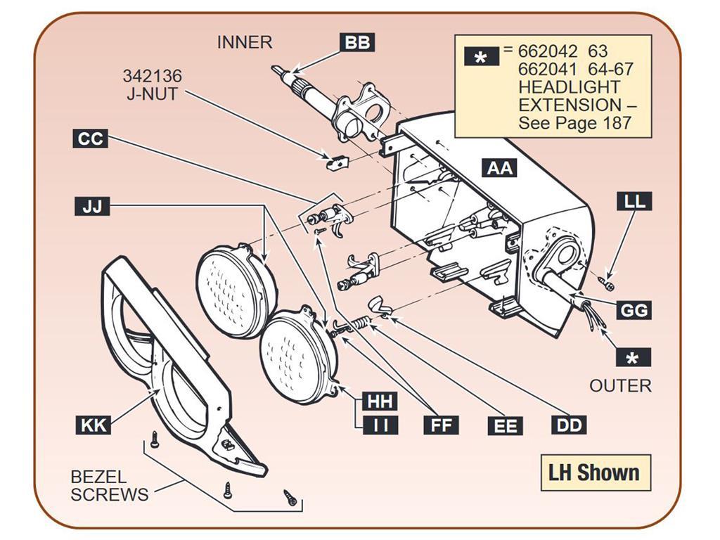 63-67 Headlight Bucket Extension Wire Harness