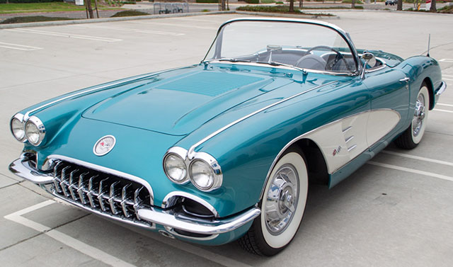 1958 turqoise corvette exterior