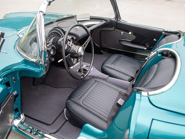 1958 turqoise corvette interior