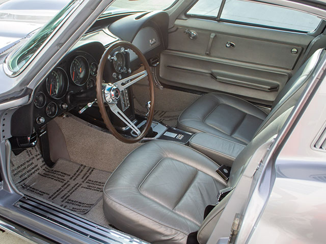 1965 silver l79 corvette coupe interior