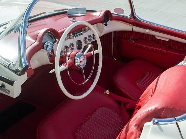 1955 white corvette v8 interior