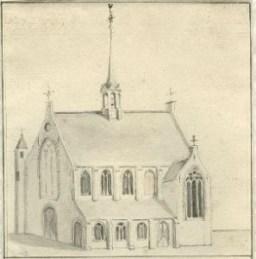 800px-Hofkapel_op_het_Binnenhof_door_Albertus_Frese_1714-1788
