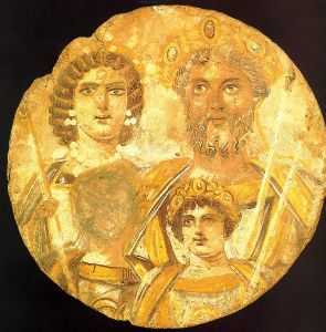 Tondo showing Septimius Severus, his wife and two sons. Geta's face has been removed (Staatliche Museum zu Berlin).