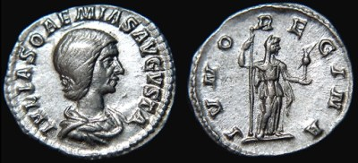 Denarius featuring Julia Soaemias (source: http://www.wildwinds.com / Wikimedia Commons)