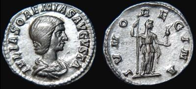 Denarius featuring Julia Soaemias (source: http://www.wildwinds.com / Wikimedia Commons)