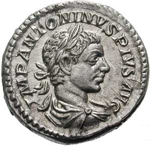 Denarius bearing the image of Elagabalus (source: Classical Numismatic Group, Inc. http://www.cngcoins.com, CC BY-SA 3.0 license).