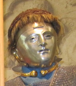 Auxiliary cavalryman wearing a face mask and torque (Museum Het Valkhof, Nijmegen).