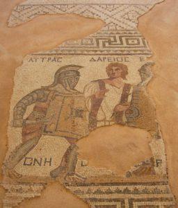 Mozaïek van gladiatoren.