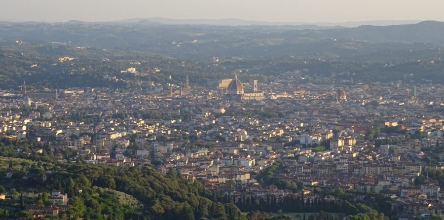 Florence, seen from Fiesole (picture taken in August 2016, around 9:30 PM).