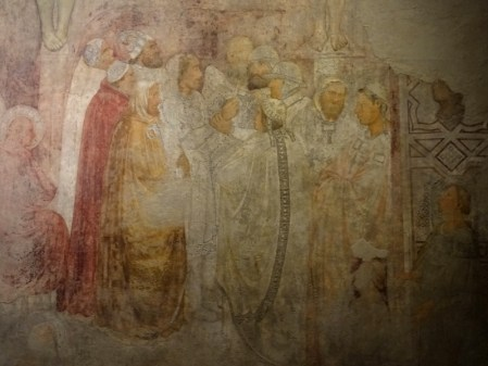 Fresco by a follower of Giotto. Note the feet of two of the crucified men.