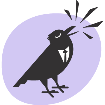Corvum crow over lilac background