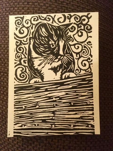 Sea cat hand printed greeting card corvus landing farm sea cat hand printed greeting card m4hsunfo