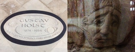 The Holst memorial, and a detail from a carving of Lazarus of Bethany, in Chichester Cathedral