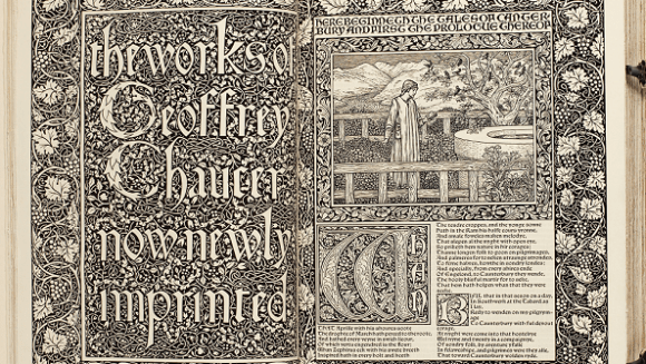 Detail from the Kelmscott Chaucer. Engravings were designed by Morris' friend and collaborator Edward Burne-Jones. Shared under the Wikimedia Commons, original here.