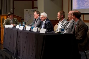 From left, moderator and National Public Radio journalist Richard Harris, professor Brian Helmuth, professor Stephen Hawkins, assistant professor Daniel Adams, Ove Hoegh-Guldberg, and professor Matthew Bracken.