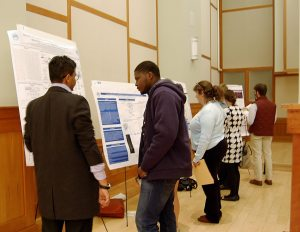 A poster session the Biochemistry Club hosted.