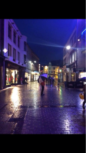 A rainy night on a street in Galway.