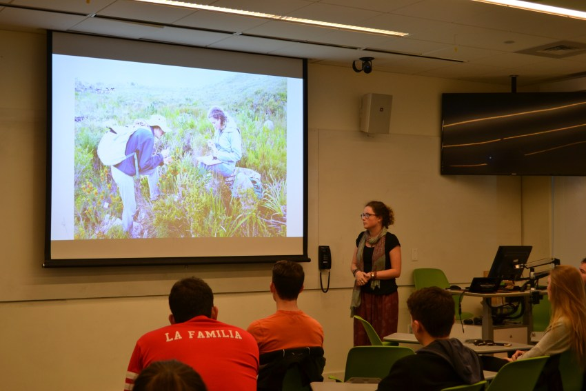 Sophie Chaney talks about her co-op in South Africa with fellow biology students.
