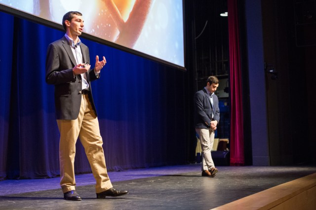 Guillaume Harmange , left, and Fazli Bozal, right, speak during NU Talks 2017.