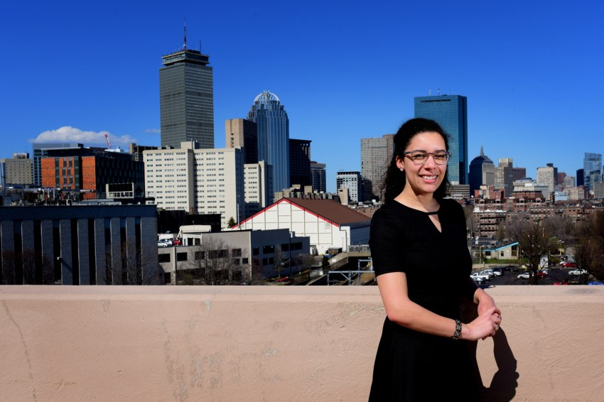 Amina Ly poses for portraits at Northeastern University