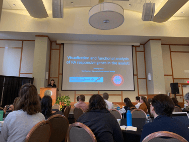 James Monaghan introduces the talk of his graduate student Timothy Duerr at the 2019 Salamander Models in Cross-Disciplinary Biological Research meeting at Northeastern University. Photo credit: Eun Kyung Jeon.