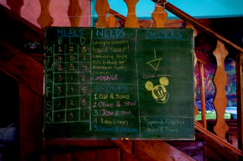 A black board displays task roles on the farm, such as meal preparing schedule.