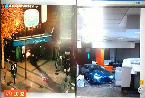 Primeras imágenes del vehículo; izda. entrada sede del PP, dcha., interior de la sede. Imagen A3