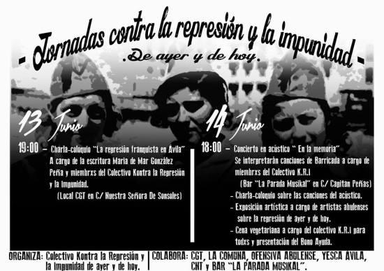 Primeras Jornadas Contra la Represión y la Impunidad enÁvila