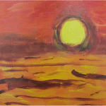 Artwork of a yellow sun and a red sky