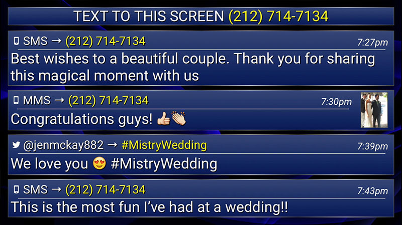 Screenshot of Wedding Text to Screen Software
