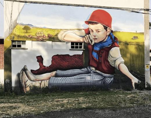 L'Albero degli Zoccoli murale di Ale Senso