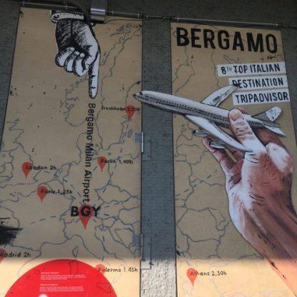 Pannello di Steven Cavagna alle Autolinee di Bergamo