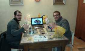 Paolo Rocchi e Corrado Di Ceglie mentre costruiscono il Centro Piacentiniano