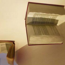 Particolare opera di Steven Cavagna: libro attaccato al soffitto