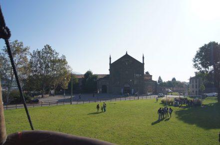L'ex chiesa di sant'Agostino vista dalla mongolfiera