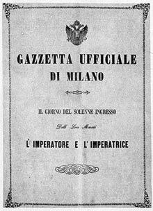 Gazzetta Ufficiale Milano 1857