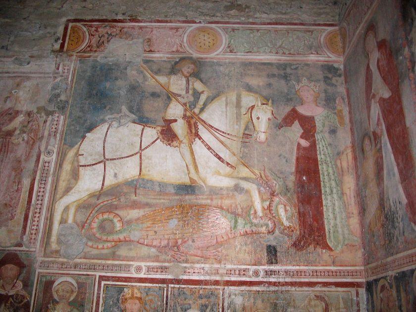 Affresco San_Giorgio e la Principessa attribuito al Maestro del 1388