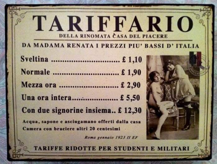 Tariffario bordello italiano