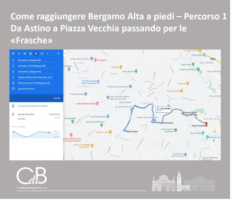 Come raggiungere Bergamo Alta a piedi - percorso 1 e mappa