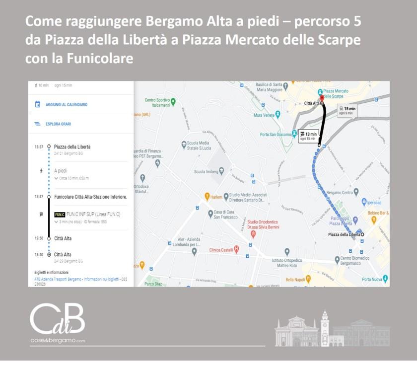 Come raggiungere Bergamo Alta a piedi - percorso 5 e mappa
