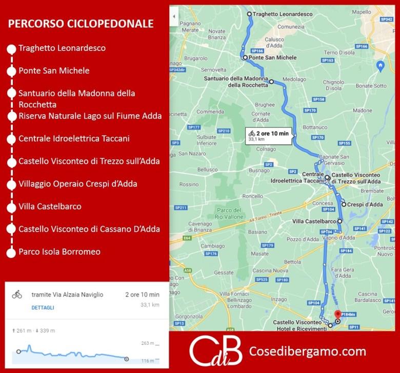 10 meraviglie sul fiume Adda Mappa Percorso Ciclopedonale