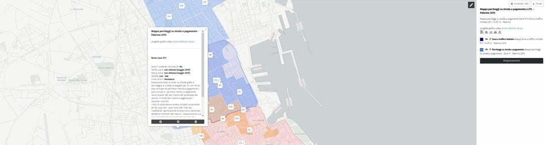 Mappa parcheggi su strada a pagamento Palermo 2015