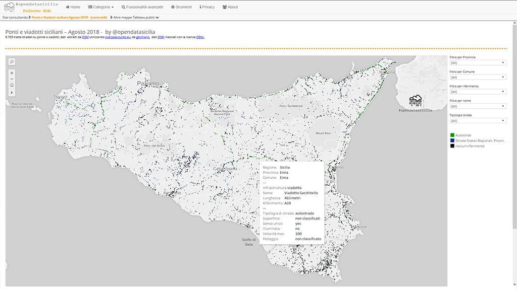 Mappa dei ponti e viadotti siciliani interattiva e grafica dinamica elaborata con Tableau Public