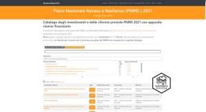 Catalogo degli investimenti e delle riforme previste PNRR 2021 con apposite risorse finanziarie