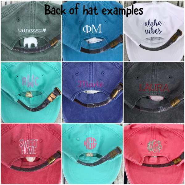 monogrammed cap, monogrammed baseball cap, back of baseball cap, baseball cap options