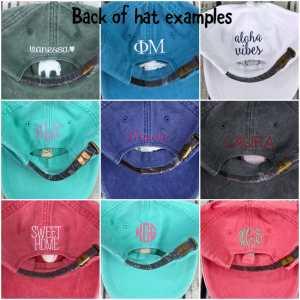 monogrammed cap, monogrammed baseball cap, back of baseball cap, baseball cap options