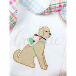 Girl dog with backpack embroidery design, Pencils, Doodle, Crayons, Vintage crayons, Back to school, Vintage stitch embroidery design, Applique, Machine embroidery design, Blanket stitch, Beanstitch, Vintage, Classic